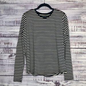 Ralph Lauren | Black + White Striped Top | Size M